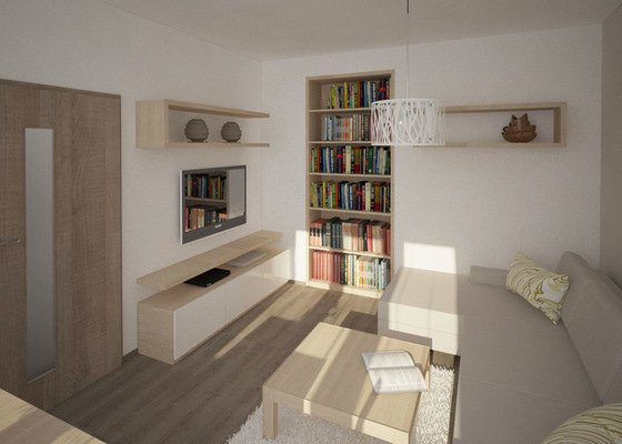Návrh rekonstrukce části bytu - obývací pokoj, ložnice, chodba