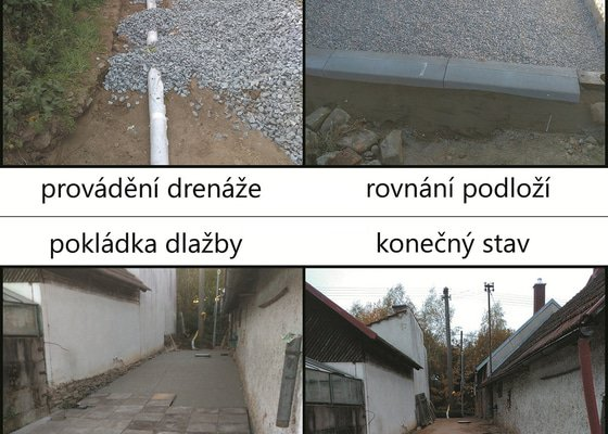 Terénní úpravy, dlažba a děšťová kanalizace