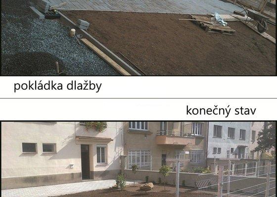 Stavební úpravy dvora činžovního domu a pokládka zámkové dlažby