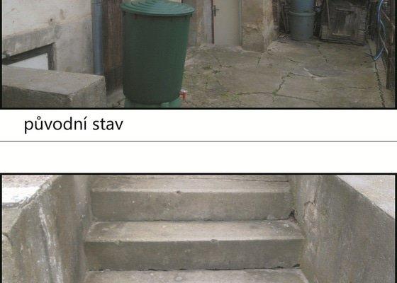 Úprava dvorku, schodů a omítek domu