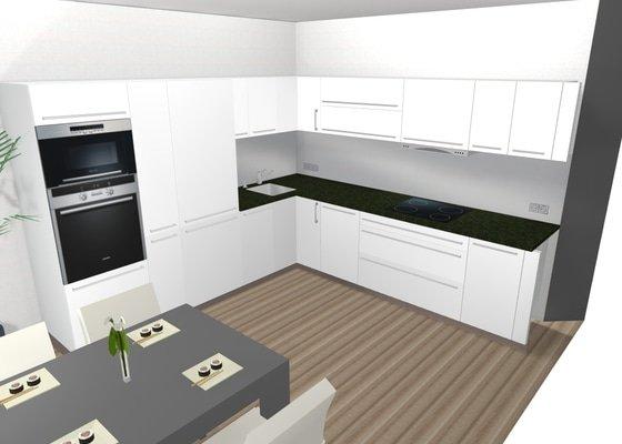 Kuchyně Folie lesk bílá / corian / spotřebiče