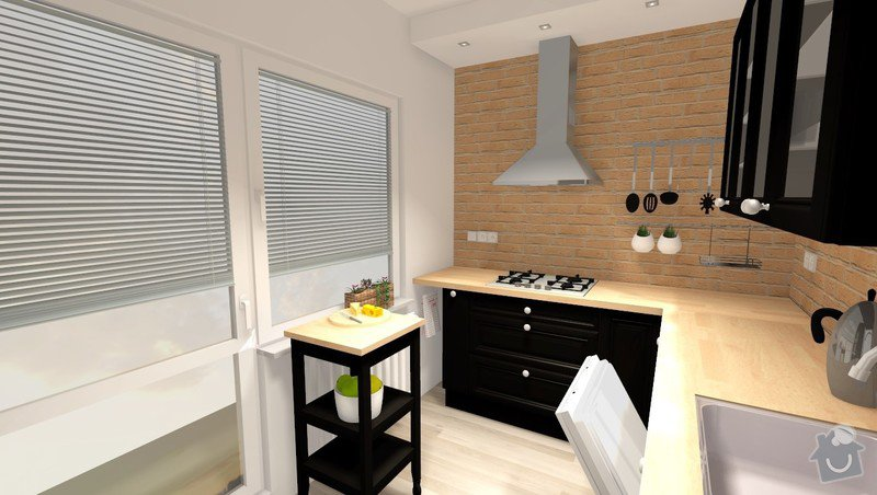 Rekonstrukce jádra v panelovém bytě: R_02_var1_pohled2