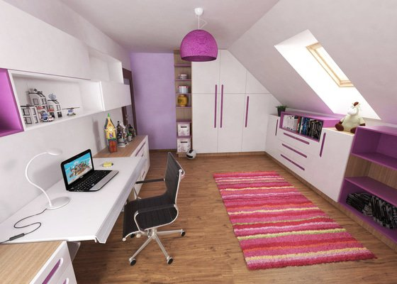 Návrh 2 dětských pokojů v podkroví