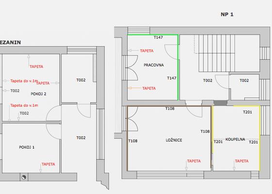 Tapetář, instalace tapet, plocha ca. 60 m2