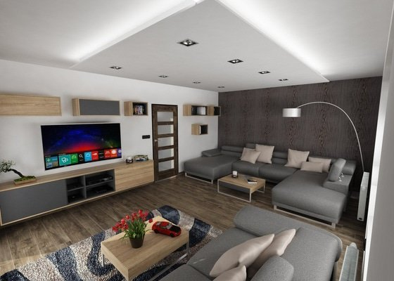 Návrh interiéru v RD - Obyvák, kuchyň, jídelna