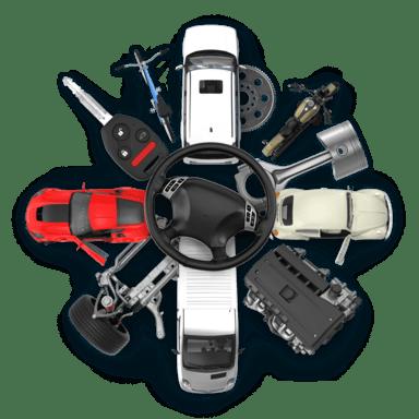 Koláž předmětů z oboru Auto