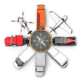 Koláž předmětů z oboru Doprava