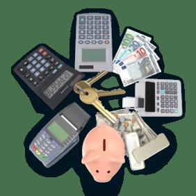 Koláž předmětů z oboru Finance