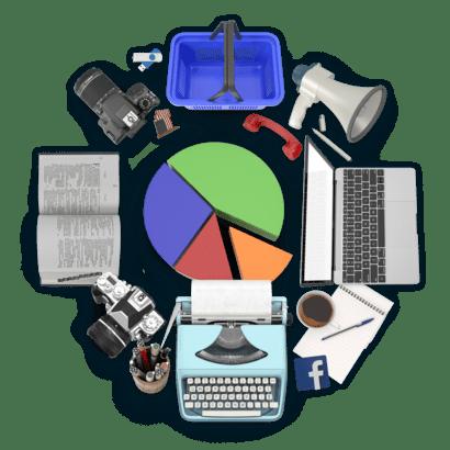 Koláž předmětů z oboru Marketing