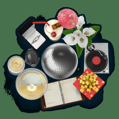 Koláž předmětů z oboru Organizování