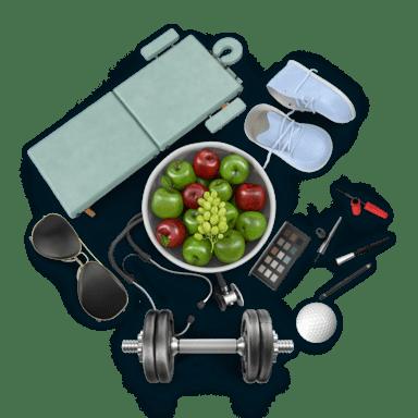 Koláž předmětů z oboru Osobní