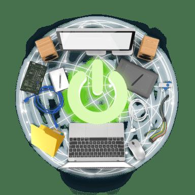 Koláž předmětů z oboru Počítače