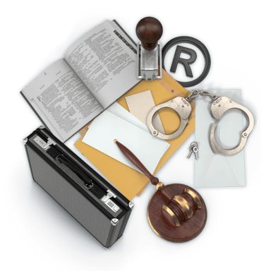 Koláž předmětů z oboru Právo