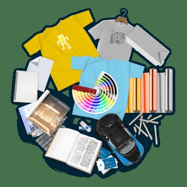 Koláž předmětů z oboru Tisk