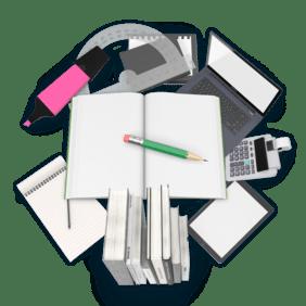 Koláž předmětů z oboru Vzdělávání