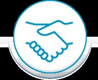 Blue circle handshake
