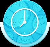 Circle blue clock